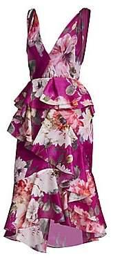 Marchesa Women's Orchid Silk Organza Ruffle Dress