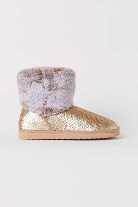 H&M Sequin-embroidered Boots - Gold