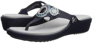 Crocs Sanrah Diamante Wedge Flip Women's Shoes