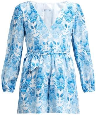 Athena Procopiou - Kalua Print Silk Playsuit - Womens - Blue White