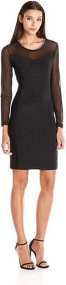 NY Collection Women's Long Sleeve Illusion Dress with Sweetheart Detailing and Embellished Neck