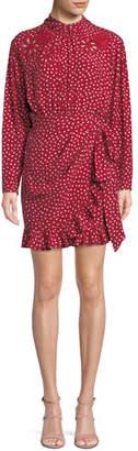 Rebecca Taylor Long-Sleeve 3-D Floral-Embroidery Heart-Print Silk Mini Dress