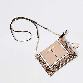 River Island Cream snake print mini cross body pouch bag