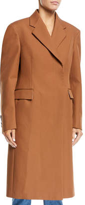 Calvin Klein Notched-Collar Rounded-Sleeve Hidden-Placket Coat