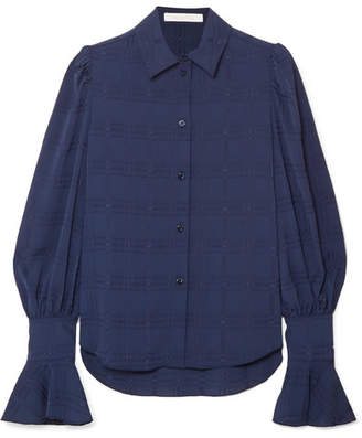 See by Chloe Crinkled Crepe-jacquard Blouse - Blue
