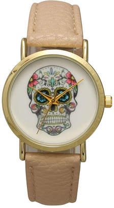 OLIVIA PRATT Olivia Pratt Womens Gold-Tone Skull Print Dial with Black Leather Strap Watch 14953