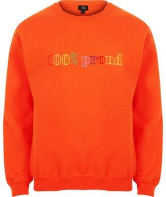 River Island Orange Pride '100% proud' sweatshirt