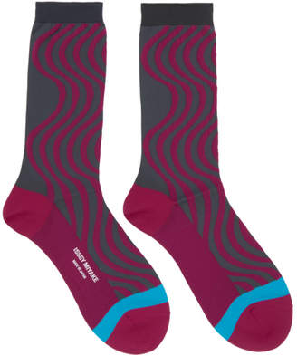 Issey Miyake Pink and Grey Chromatic Wave Socks