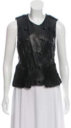 3.1 Phillip Lim Leather Fur-Trimmed Collarless Vest