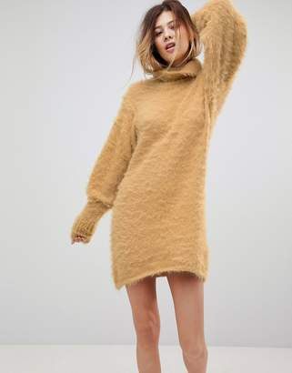 Free People Honey Roll Neck Sweater Dress with Mutton Sleeves