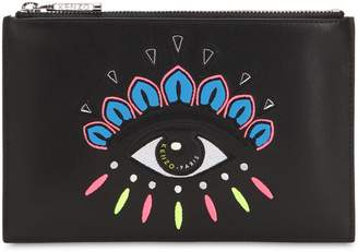 Kenzo Eye Embroidered Flat Leather Pouch