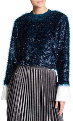 TOV Lustrous Faux Fur Sweatshirt $142 thestylecure.com