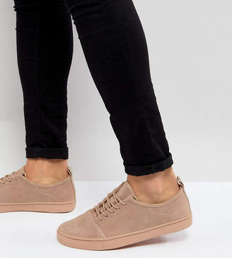 Asos Wide Fit Lace Up Sneakers In Pink Suede