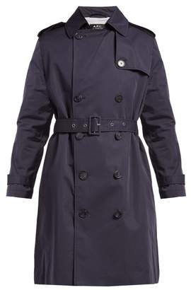 A.P.C. Josephine Cotton Blend Trench Coat - Womens - Navy