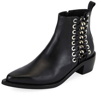 Side Lace-Up Leather Boot