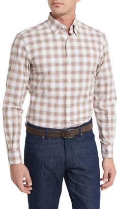 Ermenegildo Zegna Check Plaid Sport Shirt, Brown $295 thestylecure.com