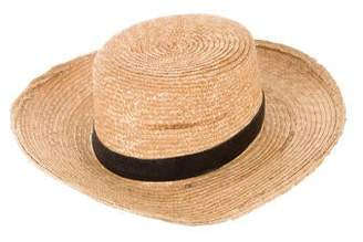 a4eea23b6d7 Janessa Leone Leather-Trimmed Straw Hat