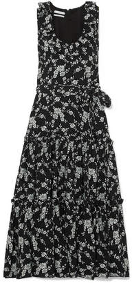 Co Tiered Floral-jacquard Midi Dress - Black