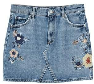 MANGO Floral embroidery denim skirt