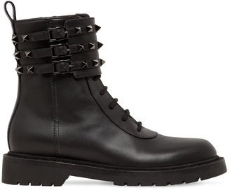Valentino 20MM ROCKSTUD LEATHER COMBAT BOOTS