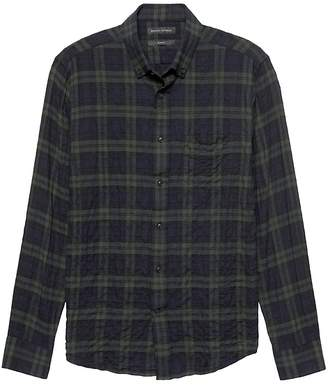 Banana Republic NEW Slim-Fit Crinkle Cotton Flannel Shirt