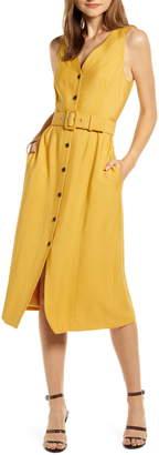 Something Navy Sleeveless Button-Up Midi Dress