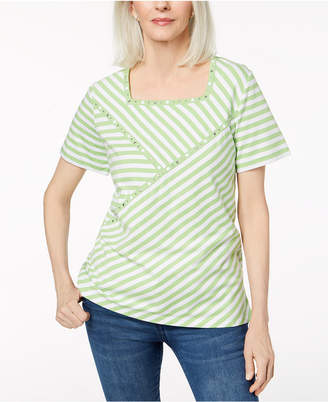 Alfred Dunner Studded Square-Neck T-Shirt