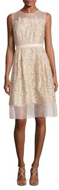 Carmen Marc Valvo Illusion Lace Applique Dress $895 thestylecure.com