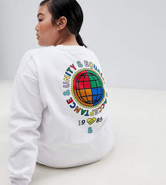 Asos DESIGN x glaad& Curve sweatshirt with back print