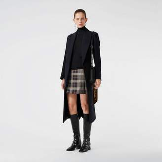 Burberry Pleat Detail Check Mini Skirt , Size: 10, Navy