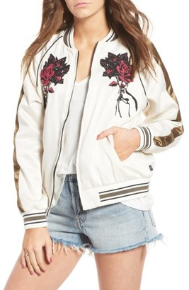 Women's Obey Howl Tour Embroidered Bomber Jacket $112 thestylecure.com
