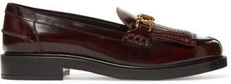 Tod's Fringed Embellished Glossed-leather Loafers - Brown