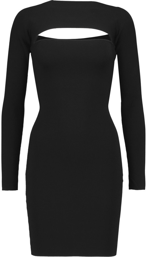 Alexander Wang T by Alexander Wang Cutout ribbed stretch-jersey mini dress