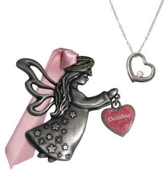 Gloria Duchin October Birthstone Angel Ornament and Necklace Set