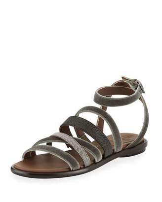 Brunello Cucinelli Velvet And Monili Multi-Strap Sandal