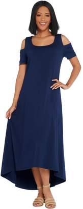 Isaac Mizrahi Live! Regular Cold Shoulder Hi-Low Hem Maxi Dress