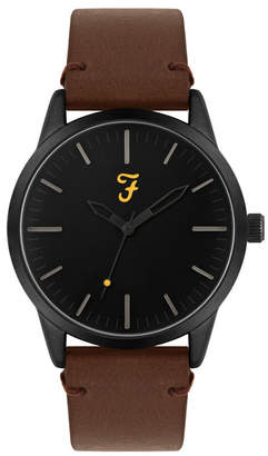Farah Men the Classic Collection Tan Leather Strap Watch 42mm