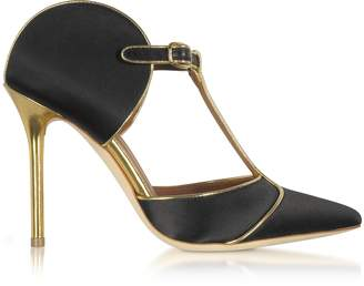 Malone Souliers Imogen Black Satin and Gold Mirror Nappa Leather Pumps
