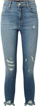 J Brand Alana Cropped Distressed High-rise Skinny Jeans - Mid denim