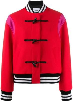 MSGM colour-block toggle bomber jacket