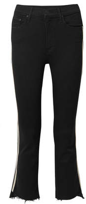 Mother The Insider Crop Frayed Striped High-rise Flared Jeans - Black