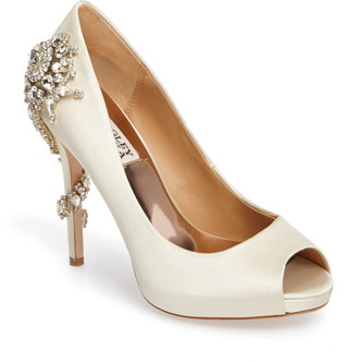 Badgley Mischka Collection 'Royal' Crystal Embellished Peeptoe Pump