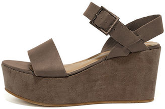 Aoife Taupe Suede Platform Wedge Sandals $33 thestylecure.com