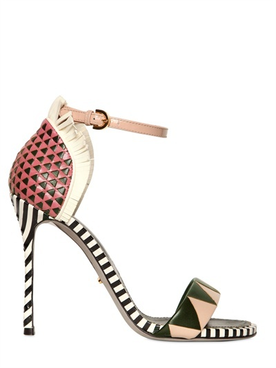 Sergio Rossi 110mm Oberoj Woven Calf Fringed Sandals