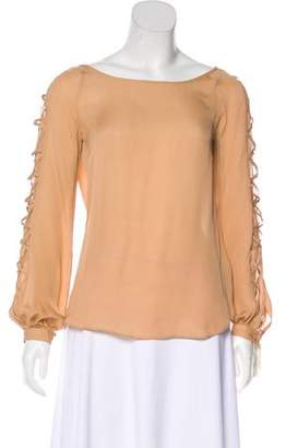 Haute Hippie Lace-Up Accented Silk Top w/ Tags