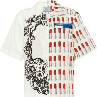 Prada lipstick print half sleeve shirt