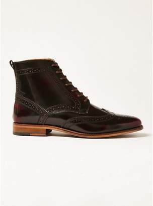 Topman Mens Red Burgundy Leather Hale Brogue Boots