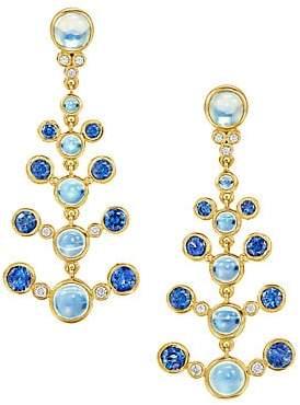 Women's Celestial 18K Yellow Gold, Diamond, Moonstone & Sapphire Galaxy  Chandelier Earrings