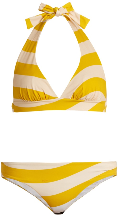 FENDI Striped halterneck bikini