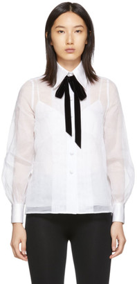 Marc Jacobs White Pleated Ribbon Shirt